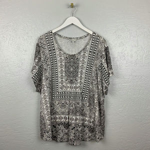 Lucky Brand Size 3XL Black White Printed Shirt